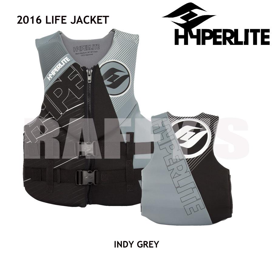 HYPERLITE ハイパーライト 2016 ウェイクボード ライフジャケット INDY NEO VEST GREY