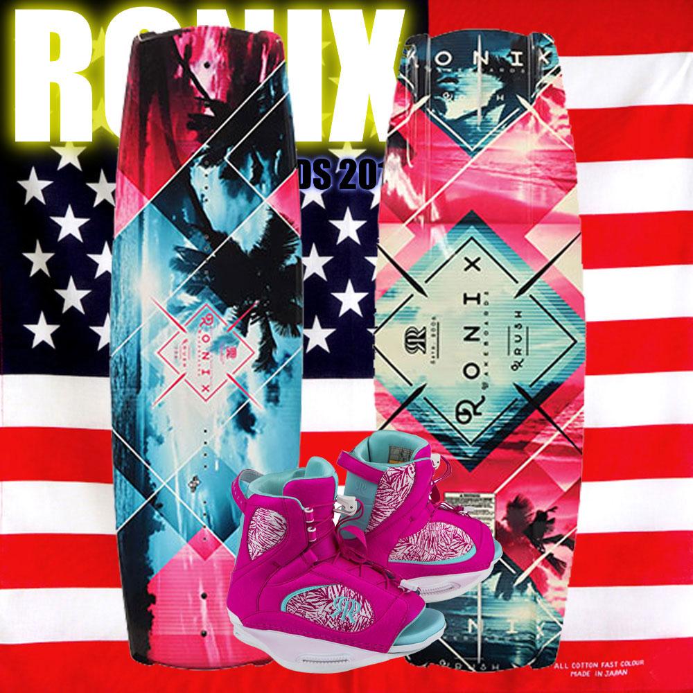 ロニックス RONIX 2018 ウェイクボード レディース セット Krush 132+Luxe Boot US W6-8.5(22-24.5cm)
