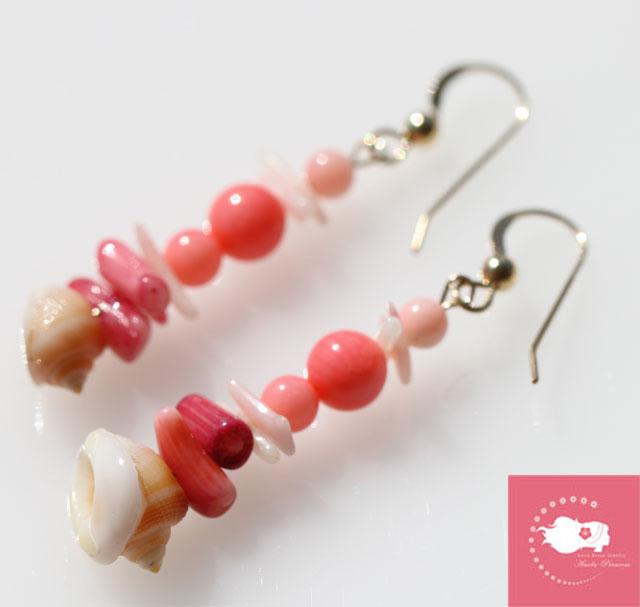 ピンクサンゴ、ピンクオパール、貝殻14KGFパワーストーンピアス