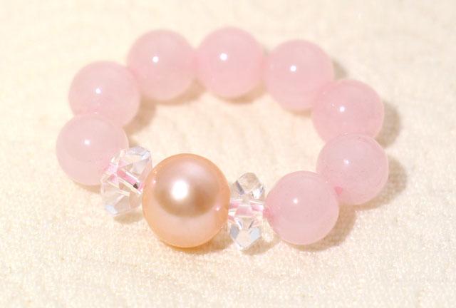 淡いピンクパール、ローズクォーツパワーストーンリング指輪