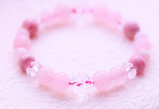 美インカローズ(ロードクロサイト)薔薇水晶、ピンクモルガナイトパワーストーンブレスレット「情熱的なバラ色の人生へ」