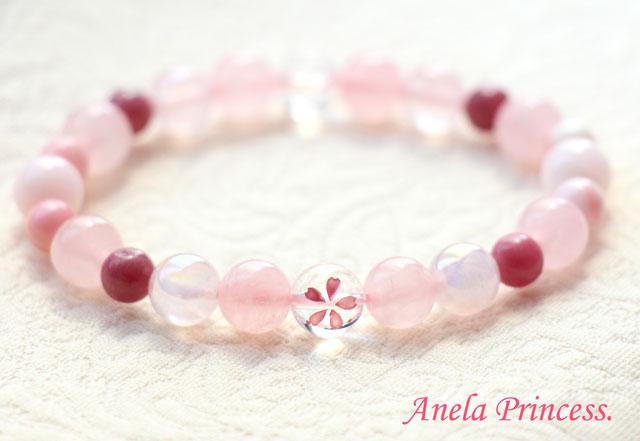 春ピンク桜水晶パワーストーンブレスレット(ピンク色ロードナイト)