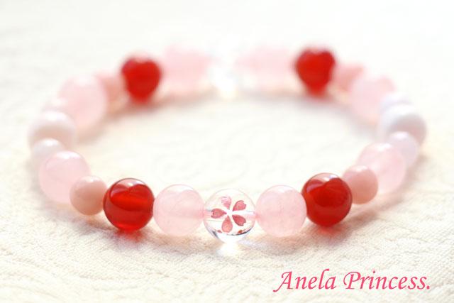 春ピンク桜水晶パワーストーンブレスレット(赤色カーネリアン)