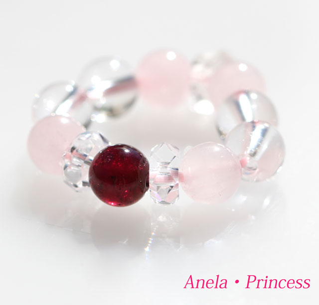 ガーネットとハーキーマー型水晶ローズクォーツ妖精パワーストーンリング指輪