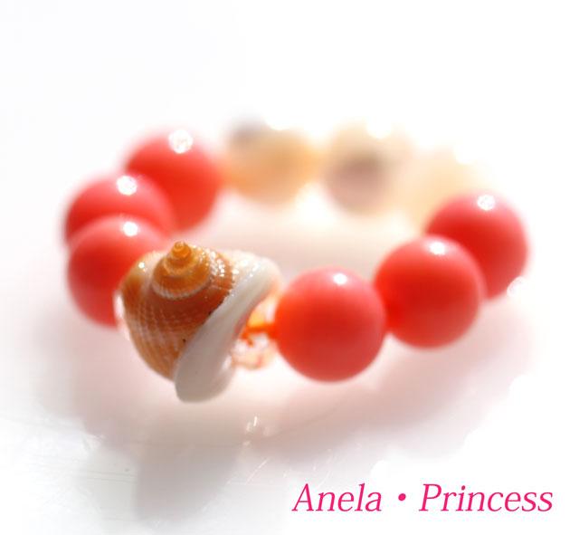 貝殻ピンクコーラル、マザーオブパールパワーストーンリング