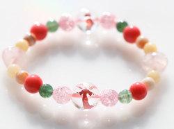 ピンク天使水晶入り、結婚と子宝アベンチュリンパワーストーンブレスレット