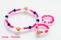 マーメイド貝殻とキラキラクリスタルブレスレット&指輪(ピンク)