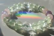 プレナイトと水晶、ローズクォーツ薔薇のパワーストーンブレスレット「真実の目を開く」