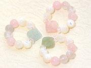 ミックスベリル、マザーオブパールパワーストーンリング・ダイヤ型海の妖精マーメイド指輪