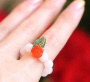 モルガナイトと赤いお花パワーストーン指輪