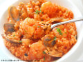 リゾット 海老とあさり・きのこのトマトソース