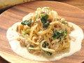 生パスタ ツナと玉葱・ほうれん草のクリームソース