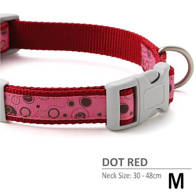 ラロック ドットレッドカラー Mサイズ 中型犬用首輪
