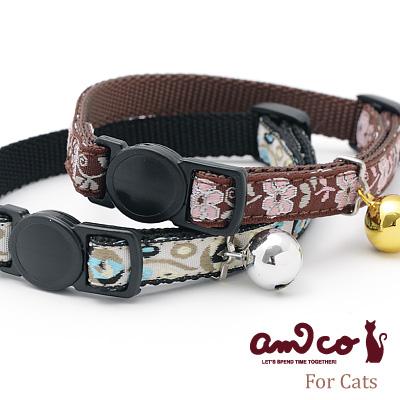 【メール便のみ送料無料】ラロック アミコ 猫の首輪 ピンクフラワー&メテオ猫カラー (メール便可 ギフト包装可)
