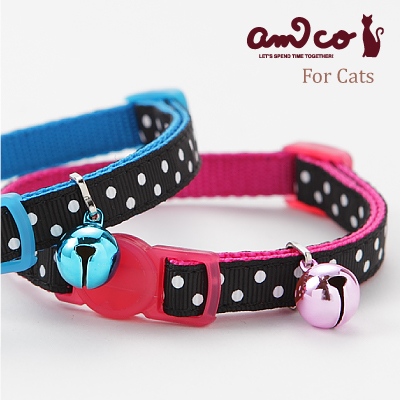 【メール便のみ送料無料】ラロック アミコ 猫の首輪 BWドット猫カラー (メール便可 ギフト包装可)