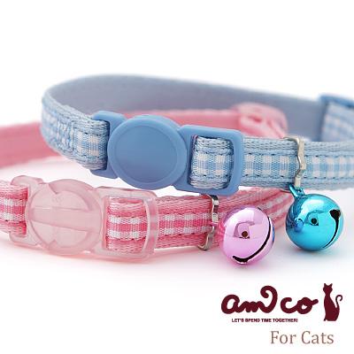 【メール便のみ送料無料】ラロック アミコ 猫の首輪 ライトチェック猫カラー (メール便可 ギフト包装可)