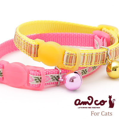 ラロック アミコ 猫の首輪 タイニーフラワー&ボーダー猫カラー