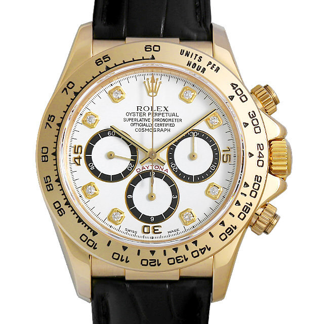 watch 21374 1c829 ロレックス デイトナ 8Pダイヤ 16518G 逆6文字盤/ホワイト N番 中古 メンズ