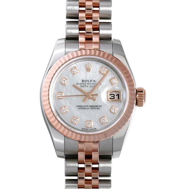 彼女へのクリスマスプレゼント 高級腕時計 ロレックス デイトジャスト 10Pダイヤ 179171NG ホワイトシェル
