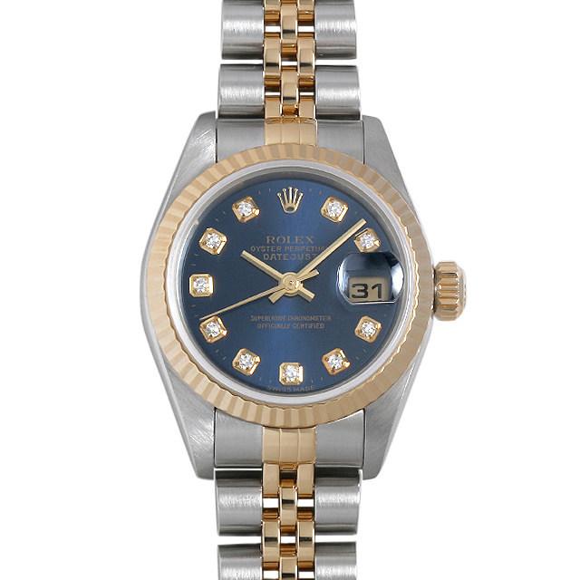 彼女へのクリスマスプレゼント 高級腕時計 ロレックス デイトジャスト 10Pダイヤ 69173G ブルー