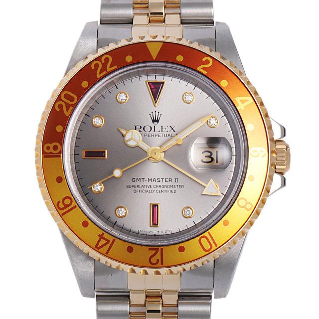 ロレックス GMTマスターII 8Pダイヤ/3Pルビー D番 16713RG シルバー 中古 メンズ