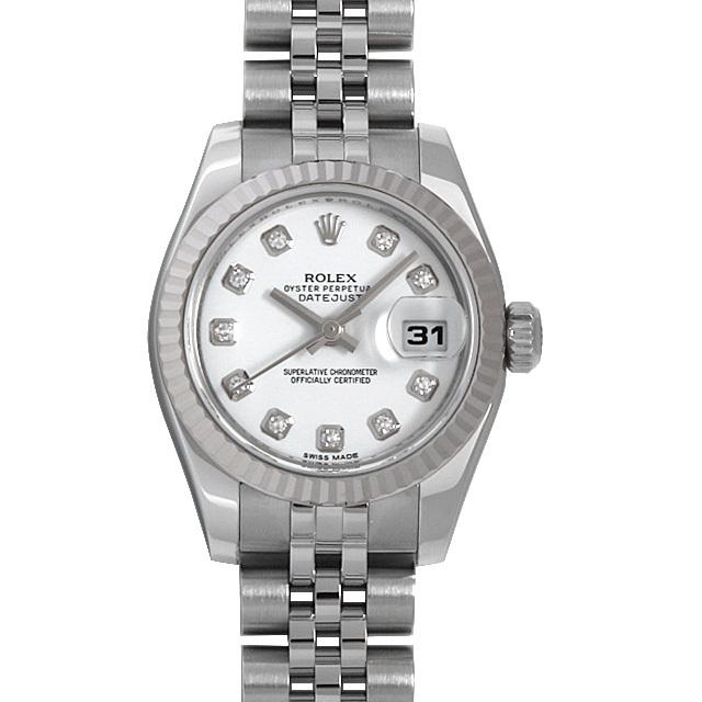ロレックス デイトジャスト 10Pダイヤ G番 179174G ホワイト 中古 レディース