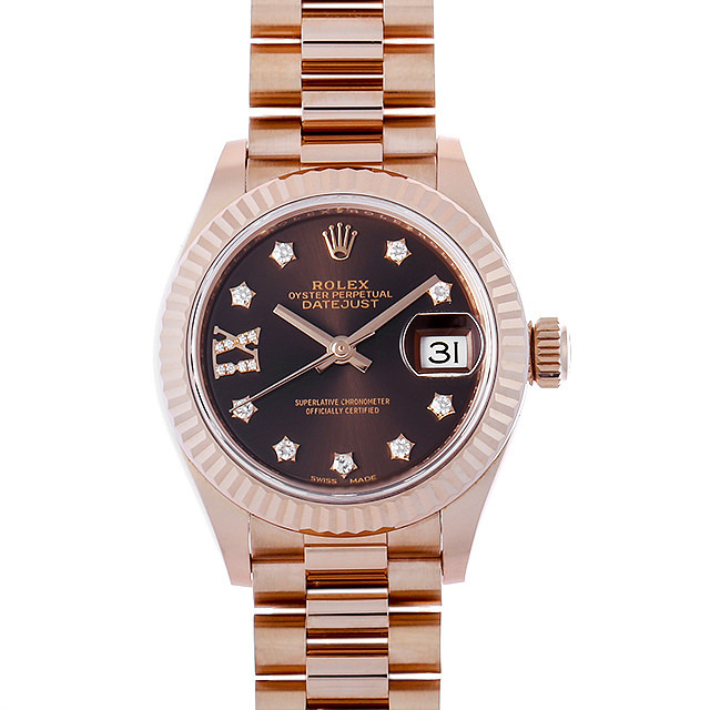 彼女へのクリスマスプレゼント 高級腕時計 ロレックス レディ デイトジャスト28 9P/IXダイヤ 279175G チョコレートブラウン