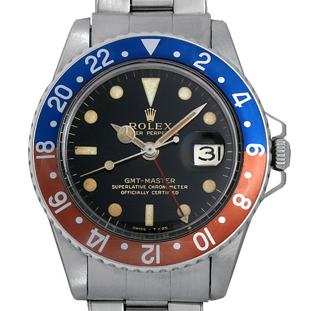 ロレックス GMTマスター 18番 1675 ブラックミラー/小針 エクステンションUSリベットブレス アンティーク メンズ