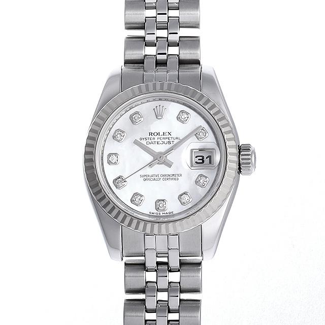 ロレックス デイトジャスト 10Pダイヤ M番 179174NG ホワイトシェル 中古 レディース