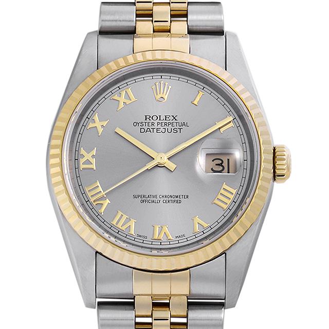 low priced 063bb 75cc2 ロレックス デイトジャスト 16233 グレー/ローマ K番 中古 メンズ