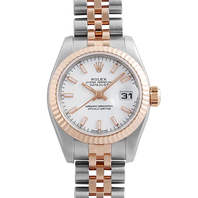 彼女へのクリスマスプレゼント 高級腕時計 ロレックス デイトジャスト 179171 ホワイト/バー