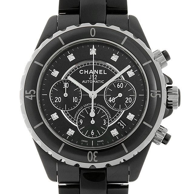 彼氏へのクリスマスプレゼント 高級腕時計 シャネル J12 黒セラミック クロノグラフ 9Pダイヤ H2419