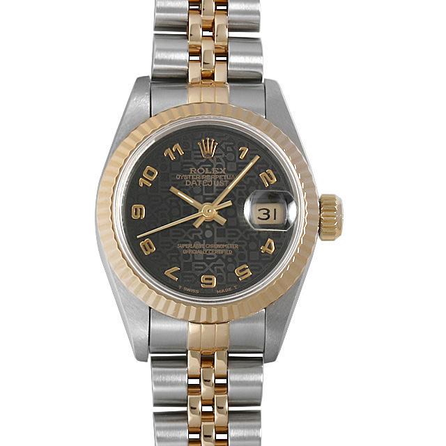 彼女へのクリスマスプレゼント 高級腕時計 ロレックス デイトジャスト S番 69173 ブラック彫りコンピューター/アラビア