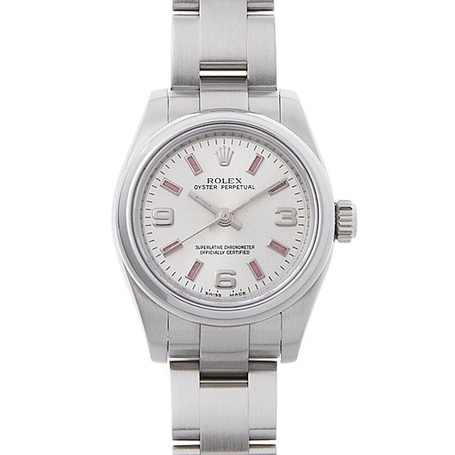 彼女へのクリスマスプレゼント 高級腕時計 ロレックス オイスターパーペチュアル V番 176200 シルバー/369ピンクバー