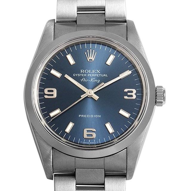 ロレックス オイスターパーペチュアル エアキング 14000 ブルー/369ホワイトバー S番