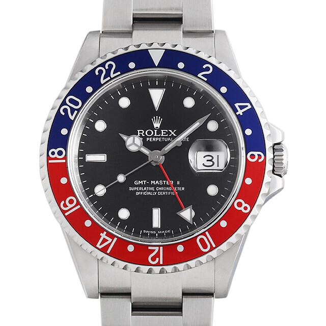 ロレックス GMTマスターII 赤青ベゼル 16710 スティックダイアル Z番 Cal.3186 中古 メンズ