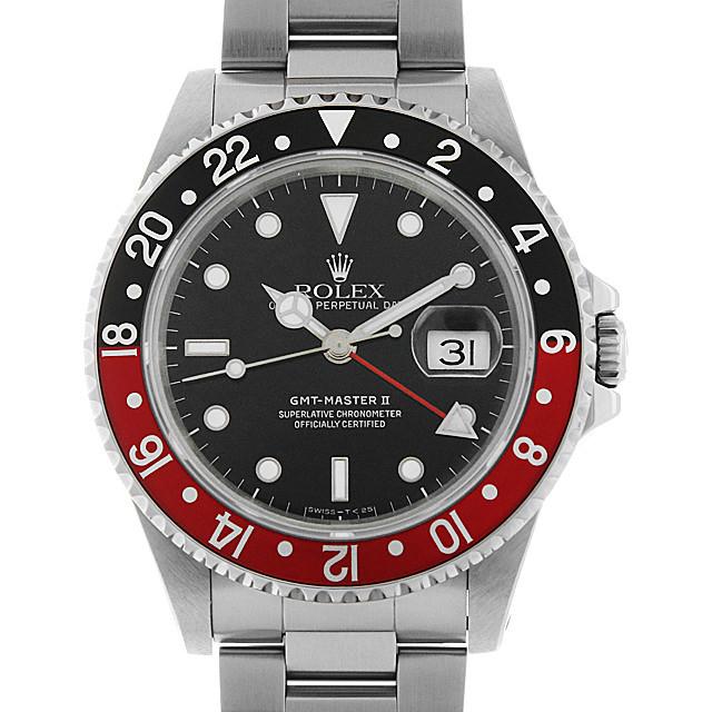 ロレックス GMTマスターII 赤黒ベゼル 16710 ティップドットセコンド E番 中古 メンズ