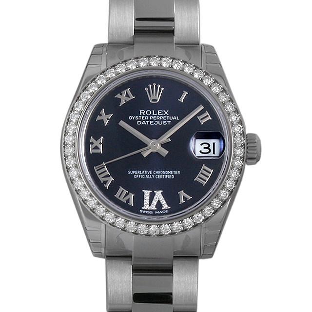 彼女へのクリスマスプレゼント 高級腕時計 ロレックス デイトジャスト VI/ベゼルダイヤ 178384VI パープル