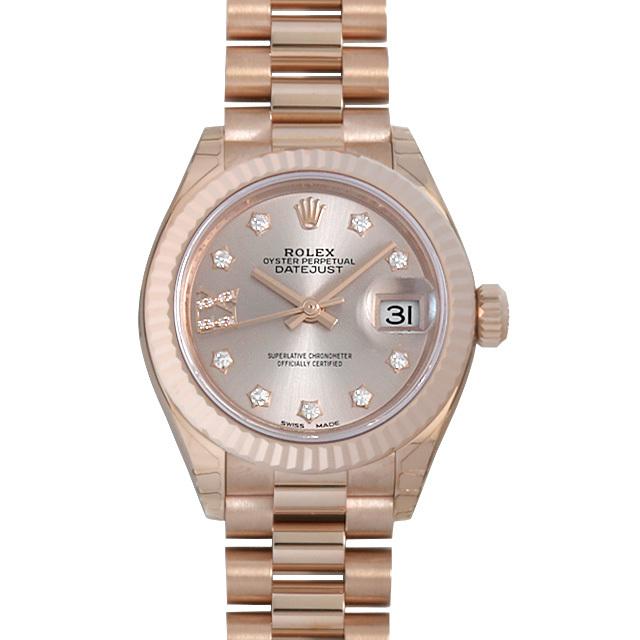 彼女へのクリスマスプレゼント 高級腕時計 ロレックス レディ デイトジャスト28 9P/IXダイヤ プレジデントブレス 279175G サンダスト