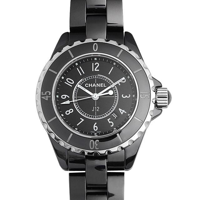 彼女へのクリスマスプレゼント 高級腕時計 シャネル J12 黒セラミック H0682