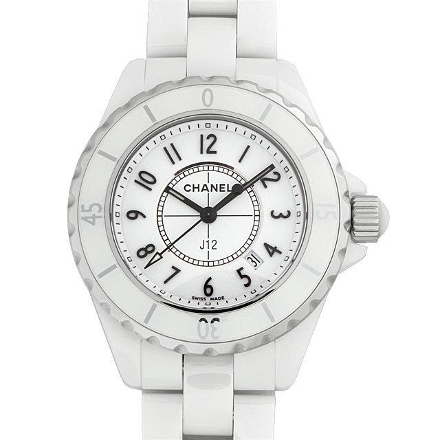 彼女へのクリスマスプレゼント 高級腕時計 シャネル J12 白セラミック H0968