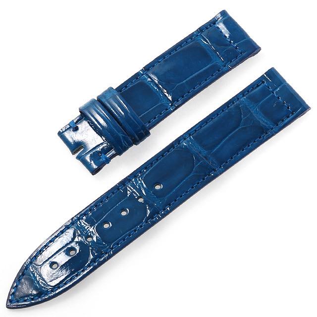 RASINオリジナル フランクミュラー ロングアイランド 尾錠用革ベルト クロコダイル 裏ラバーコーティング 艶有り 青/ブルー 16mm-16mm FMLIAB1616 新品