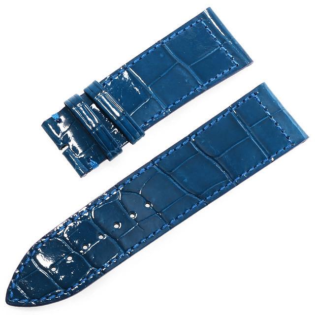 RASINオリジナル フランクミュラー ロングアイランド 尾錠用革ベルト クロコダイル 裏ラバーコーティング 艶有り 青/ブルー 24mm-22mm FMLIAB2422 新品