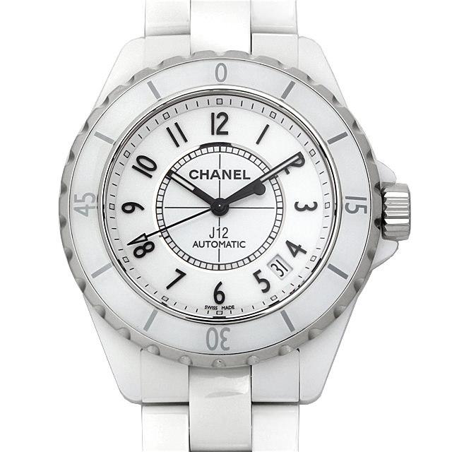 彼氏へのクリスマスプレゼント 高級腕時計 シャネル J12 白セラミック H0970