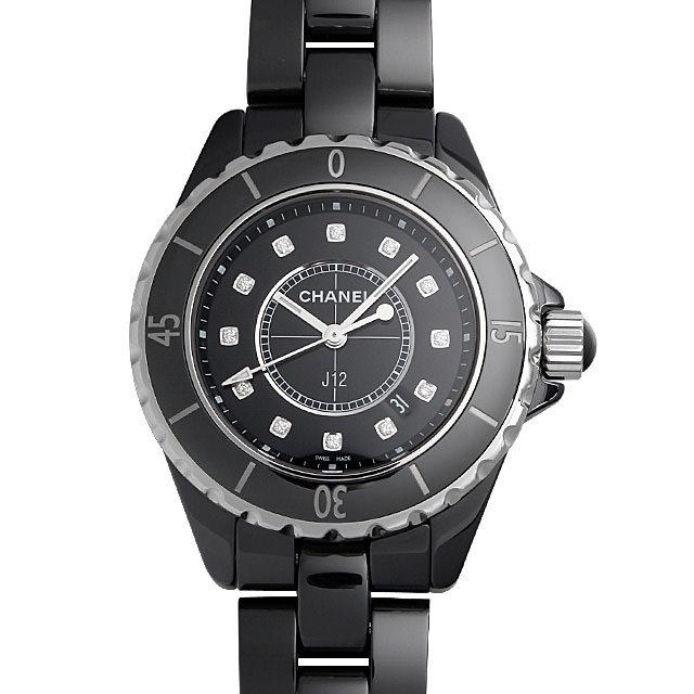 彼女へのクリスマスプレゼント 高級腕時計 シャネル J12 黒セラミック H1625