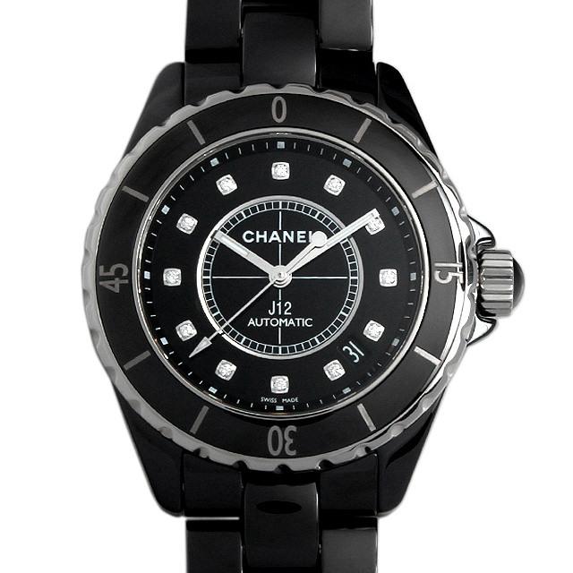 彼氏へのクリスマスプレゼント 高級腕時計 シャネル J12 黒セラミック 12Pダイヤ H1626