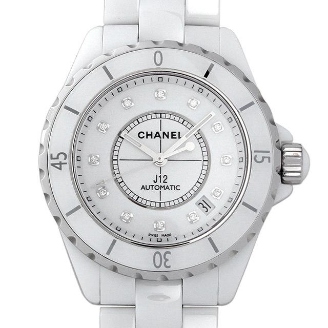 彼氏へのクリスマスプレゼント 高級腕時計 シャネル J12 白セラミック 12Pダイヤ H1629