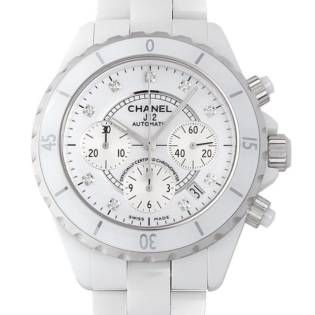 彼氏へのクリスマスプレゼント 高級腕時計 シャネル J12 クロノグラフ 白セラミック 9Pダイヤ H2009
