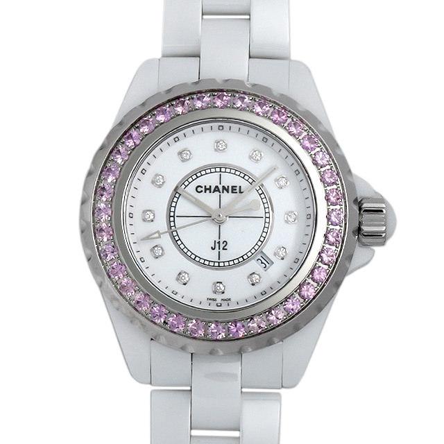 彼女へのクリスマスプレゼント 高級腕時計 シャネル J12 ピンクサファイアベゼル H2010