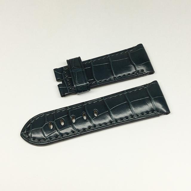 SALE パネライ 尾錠用純正ショートサイズ革ベルト アリゲーター ネイビー 24mm-22mm 新品
